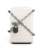 Closed fridge with chain and lock Royalty Free Stock Photography