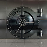 Closed front view bank vault door Royalty Free Stock Photo