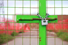 Closed gate in construction site Royalty Free Stock Photography