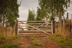 Closed Gate of farm Stock Photo