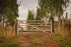 Closed Gate of farm Stock Photo