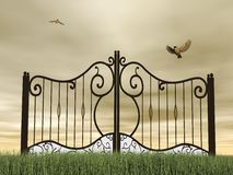 Closed gate in nature - 3D render Royalty Free Stock Image