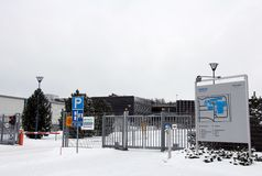 Closed Gate at Nokia Corporation, Salo Finland. SALO, FINLAND - JANUARY 26, 2013 - Closed gate at Nokia factory in Salo, Finland on January 26, 2013. Nokia Royalty Free Stock Image