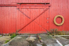 Closed gate of Norwegian fishing barn Stock Image