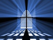 Closed gate of paradise from darkness. Royalty Free Stock Image