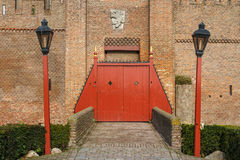 Closed gates of Muiden medieval castle Stock Photo