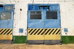 Closed gates in trolleybus depot Stock Image