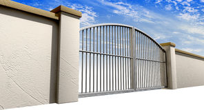 Closed Gates And Wall Perspective Stock Images