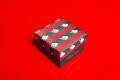 Closed gift box with fabric lid Royalty Free Stock Photos