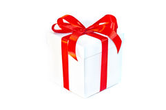 Closed Gift Box with Red Ribbon and Red Bow Stock Photos