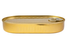 Closed gold metal tin Royalty Free Stock Images