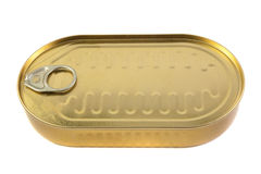 Closed gold metal tin Royalty Free Stock Photo