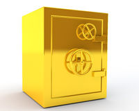 Closed gold safe. On white background Royalty Free Stock Images