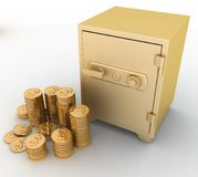 Closed gold safe with  dollars. On  white background Stock Photography