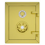 Closed gold safe. Isolated render on a white background Royalty Free Stock Photos