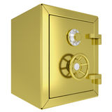 Closed gold safe. Isolated render on a white background Royalty Free Stock Photo