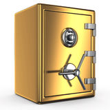 Closed gold safe over white background. Bank safe. 3d illustration of closed gold safe over white background Stock Images