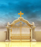 Closed golden entrance to paradise with sky Royalty Free Stock Images