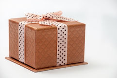 CLOSED GOLDEN GIFT BOX WITH BOW Royalty Free Stock Photos