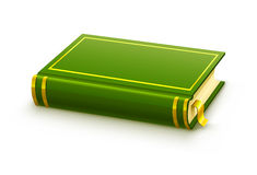 Closed green book with blank cover Royalty Free Stock Photos