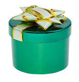Closed green box with cover decorated by foil knot Stock Photos