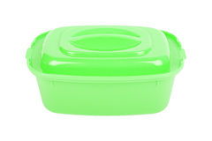 The closed green food container Stock Images