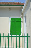 Closed green shutter. On window with railing in front,Sami,Kefalonia,Greece Stock Images