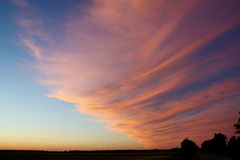 Closed half the sky. Gebicke terrible cloud at sunset in the countryside Stock Image