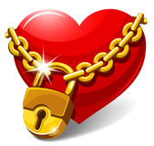 Closed heart. Red heart locked with chain. Love concept. Vector illustration Royalty Free Stock Image
