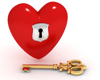Closed heart and key Royalty Free Stock Photography