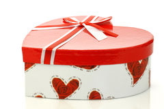 Closed heart shaped gift box with a ribbon Royalty Free Stock Photo