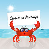 Closed for holidays. Illustration of crab with sign closed for holidays Stock Photos