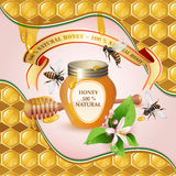 Closed honey jar and bees Royalty Free Stock Photos
