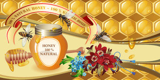 Closed honey jar and flowers Royalty Free Stock Photo