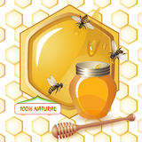 Closed honey jar, wooden dipper bees Royalty Free Stock Images