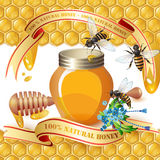 Closed honey jar, wooden dipper, bees, and ribbons Royalty Free Stock Photo