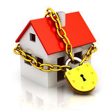 Closed house. House closed in chain and padlock Royalty Free Stock Image