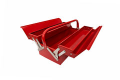 Closed iconic toolbox. Open red metallic closed iconic toolbox on white background Royalty Free Stock Photos