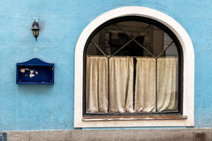 Closed inn blue facade Royalty Free Stock Image