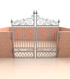 Closed iron gate in quadrilateral brick fence Royalty Free Stock Photo