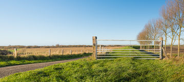 Closed iron gate in a rural landscape Stock Photo