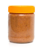 Closed jar of peanut butter Royalty Free Stock Image