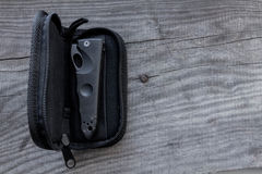 Closed knife in a case. Left side. Knife Stock Photography