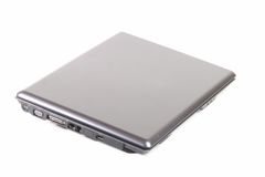 Closed Laptop. A closed laptop computer on a white background royalty free stock images