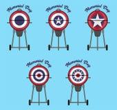 Closed Lid BBQ Design with Patriotic Bunting Flag stock illustration