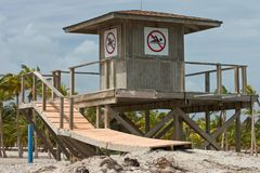 Closed Lifeguard Stand. Close-up of closed lifeguard stand with no swimming signs clearly displayed Royalty Free Stock Image
