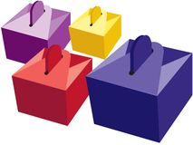 Closed little boxes. Gift boxes in different colors Royalty Free Stock Images