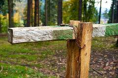 Closed with lock barrier bar gate in the forest Royalty Free Stock Images