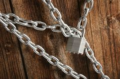 Closed lock with a chain Royalty Free Stock Images