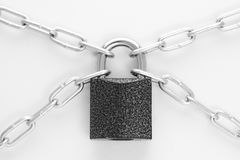 Closed lock with chain Royalty Free Stock Photography